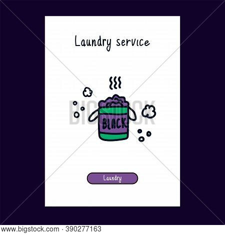A Drawn Icon For A Laundry Service In Color For The Web. Cartoon Hand-drawn Icons In The Style Of Do