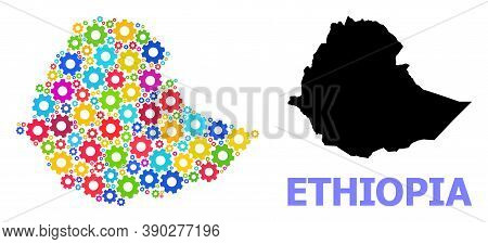 Vector Composition Map Of Ethiopia Organized For Engineering. Mosaic Map Of Ethiopia Is Organized Of