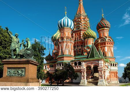 St Basil`s Cathedral On Red Square, Moscow, Russia. Beautiful Saint Basil`s Church Or Temple Of Vasi