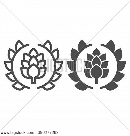 Wreath Of Leaves With Hops Line And Solid Icon, Craft Beer Concept, Beer Logo Or Banner Sign On Whit