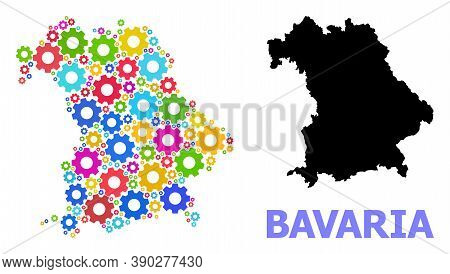 Vector Mosaic Map Of Bavaria State Designed For Mechanics. Mosaic Map Of Bavaria State Is Done From