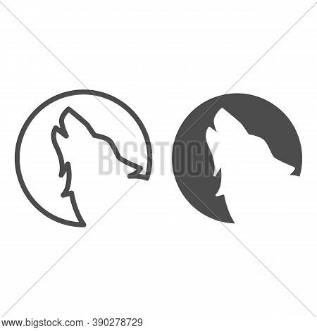 Wolf Howling At Moon Line And Solid Icon, Halloween Concept, Wolf And Moon Sign On White Background,