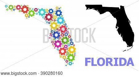 Vector Mosaic Map Of Florida State Created For Engineering. Mosaic Map Of Florida State Is Designed