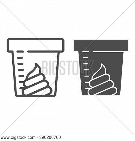 Stool Sample For Analysis Line And Solid Icon, Medical Tests Concept, Fecal Analysis Sign On White B