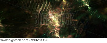 Colorful Computer Generated Fractal Abstract Panoramic Background. Golden And Green Colors