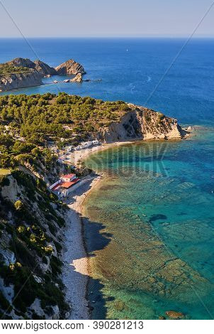 Aerial Photography Javea With Sandy Coastline And Turquoise Mediterranean Sea Water. Costa Blanca. S