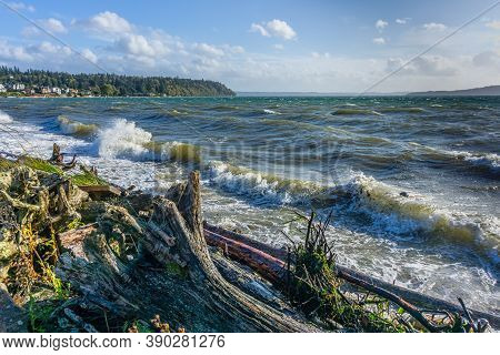 A View Of The Puget Sound On A Windy Day From Normandy Park, Washington.