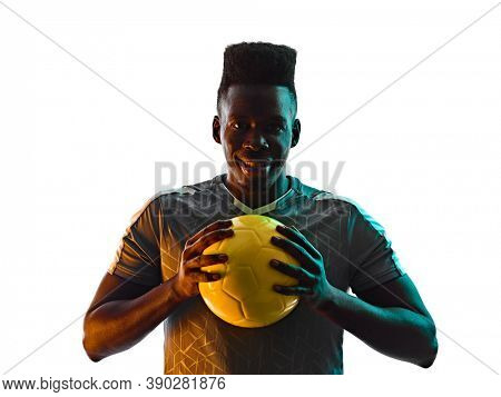 young african soccer player man in studio isolated on white background in silhouette shadow