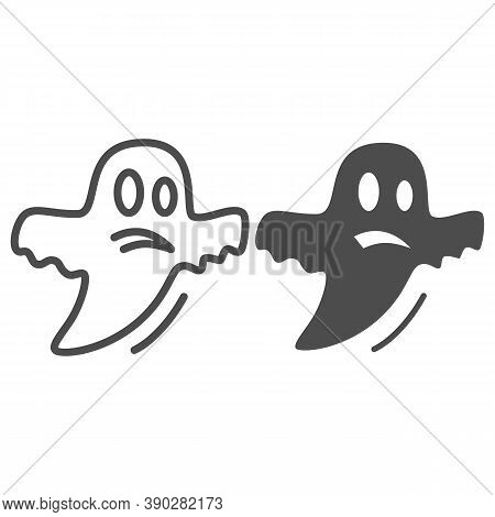 Ghost Line And Solid Icon, Halloween Concept, Halloween Specter Sign On White Background, Flying Gho
