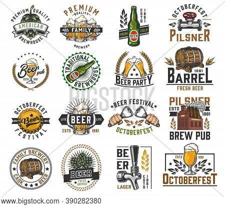 Vintage Brewing Colorful Labels Set With Hop Cones Beer Bottles Glasses Mugs Tap Wooden Barrels Hand