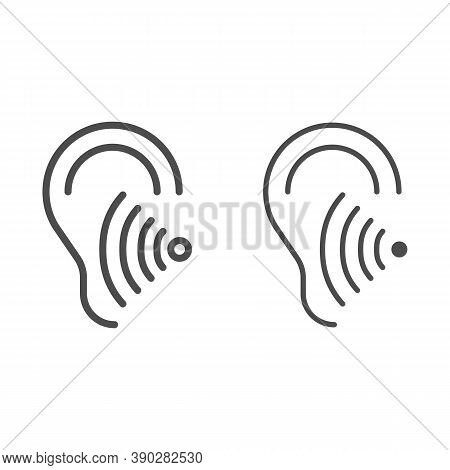 Hearing Test Line And Solid Icon, Medical Tests Concept, Volume Listen Sign On White Background, Sou