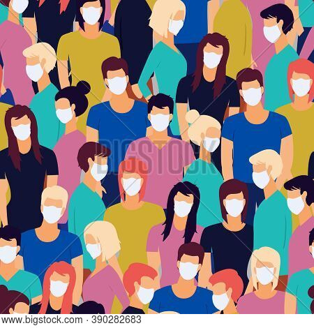 Vector Seamless Pattern Of Coronavirus Pandemia. Novel Coronavirus 2019-ncov , Crowd Of People Weari