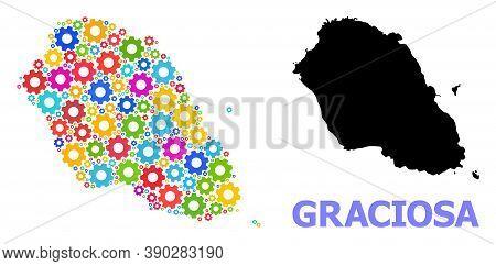 Vector Mosaic Map Of Graciosa Island Combined For Engineering. Mosaic Map Of Graciosa Island Is Shap