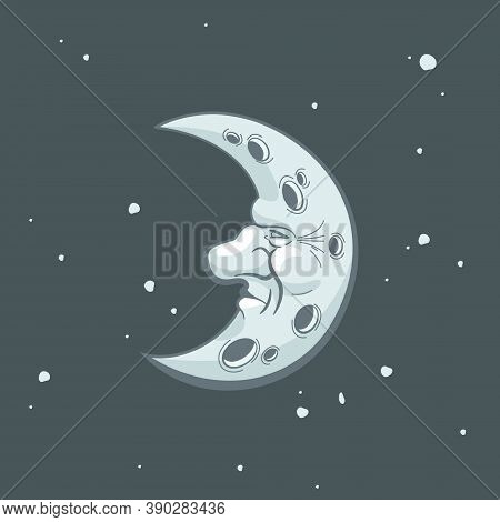 Crescent Moon And Stars In Antique Style Hand Drawn Line Art And Dotwork. Boho Chic Tattoo, Poster,