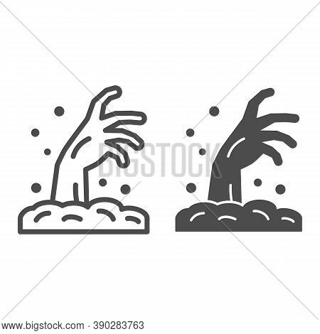 Zombie Hand Line And Solid Icon, Halloween Concept, Hand In Ground Sign On White Background, Zombie