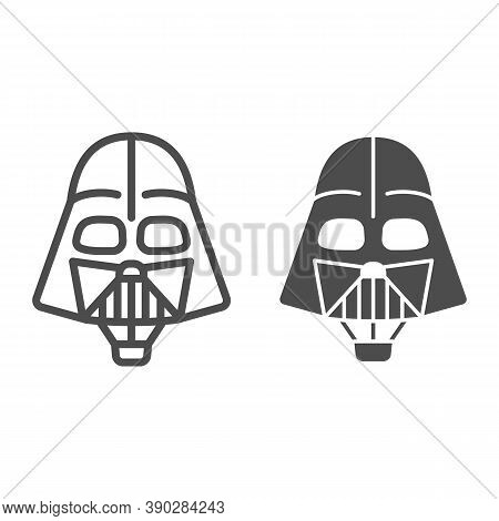 Head Of Darth Vader Air Balloon With Basket Line And Solid Icon, Balloons Festival Concept, Kids Air
