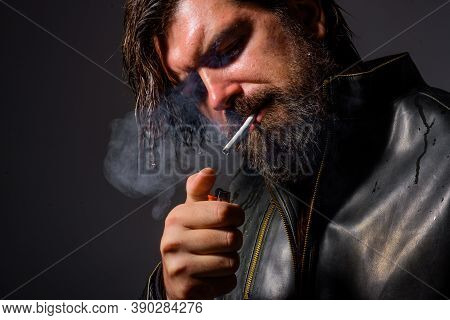 Smoking Man. Bearded Man Smoking Cigarette. Cigarette Smoke. Tobacco. Bearded Man With Cigarette. Ma