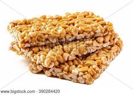 Peanut Brittle Bars (indian Peanut Chikki) Isolated On White. Close-up