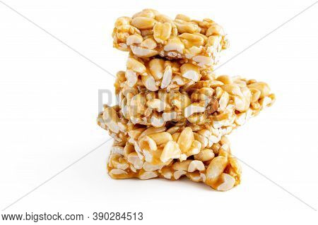 Peanut Brittle Bars (indian Peanut Chikki) Isolated On White Background.