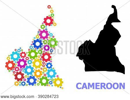 Vector Mosaic Map Of Cameroon Constructed For Engineering. Mosaic Map Of Cameroon Is Made From Rando