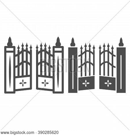 Gate To Cemetery Line And Solid Icon, Halloween Concept, Cemetery Sign On White Background, Graveyar