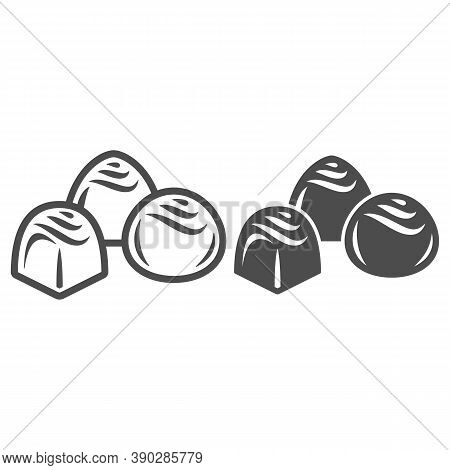 Chocolates Line And Solid Icon, Chocolate Festival Concept, Chocolate Candies Sign On White Backgrou