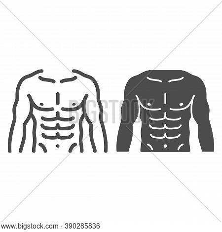 Male Strong Torso Line And Solid Icon, Gym Concept, Men Chest Sign On White Background, Muscular Str