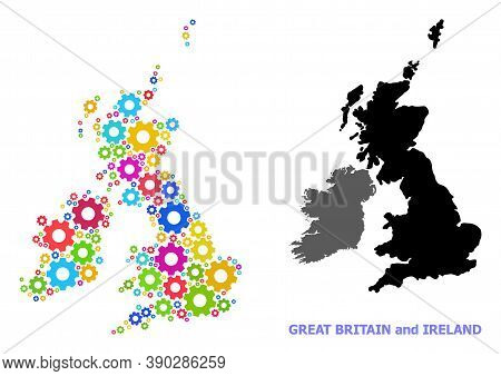 Vector Mosaic Map Of Great Britain And Ireland Constructed For Engineering. Mosaic Map Of Great Brit