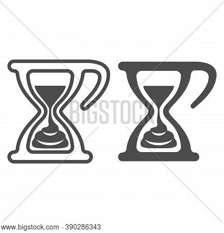 Melting Chocolate In Hourglass Line And Solid Icon, Chocolate Festival Concept, Time For Chocolate S