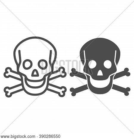 Skull And Bones Line And Solid Icon, Halloween Concept, Danger Warning Sign On White Background, Sku