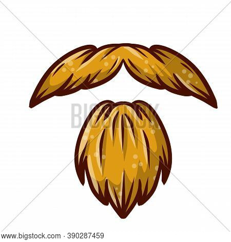 Fashionable Mens Haircut. Element Of Head And Face Hipster. Long Moustache Of Old Man. Cartoon Brown