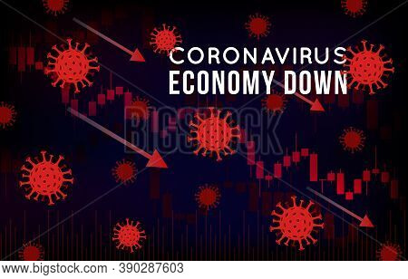 Vector Concept Illustration Of Impact Of Coronavirus On The Stock Exchange And Global Economy. Covid