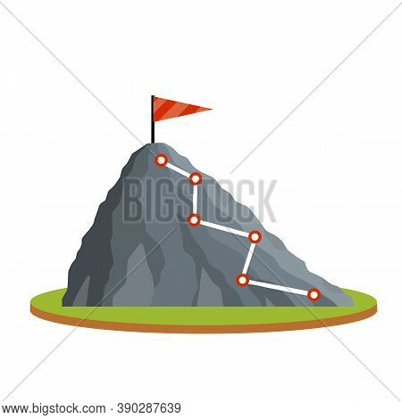 Climbing Mountain With Red Flag. Points And Stage Of Route On Green Platform. Mountaineering And Spo