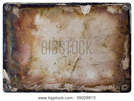 Grunge metal plate isolated on white background.