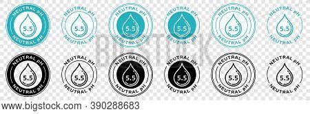 Neutral Ph Balance Logo Icon For Shampoo Or Cream. Ph Sign With Drop. Information Label. Vector Illu