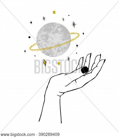 Vector Illustration Of Womens Hand Holding Textured Planet And Stars. Trendy Linear Minimal Boho Tat