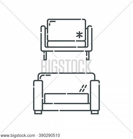 Comfortable Sofa With Three Pillow. Two Modern Stylish Object For Relaxation. Image Of Couch In Line