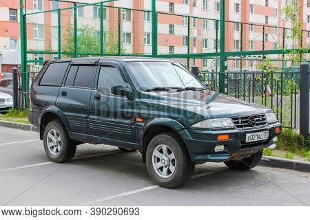 Novyy Urengoy, Russia - June 11, 2020: South Korean 4x4 Car Ssangyong Musso In The City Street.