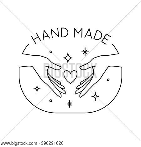 Vector Trendy Hand Made Label Or Badge Of Gesture In Linear Modern Style Isolated. Emblem Or Logo Wi