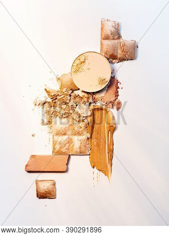Skin Correction Products. Spills And Smears Of Makeup Foundation, Eyeshadow, Face Powder And Shimmer
