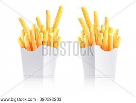 French fries. Potatoes in paper box. Snack fast food takeaway. Popular roasted potatoes chips sticks snack in cardboard packing, isolated on white transparent background. Realistic. 3D illustration.