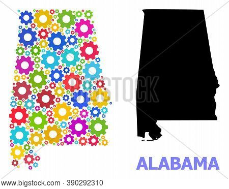 Vector Collage Map Of Alabama State Designed For Engineering. Mosaic Map Of Alabama State Is Constru
