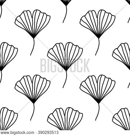 Seamless Vector Pattern With Ginkgo Biloba Leaves Isolated On White Background. Botanical Monochrome