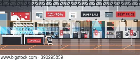 Empty No People Electronics Market Black Friday Big Sale Promotion Discount Shopping Concept Househo
