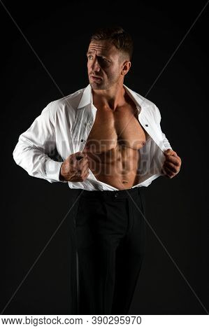 Exercise Abdominal Muscles. Sexy Bachelor Show Six Pack Abs. Businessman With Athletic Torso Black B