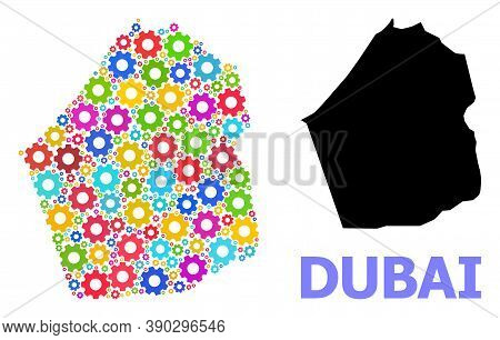 Vector Mosaic Map Of Dubai Emirate Combined For Engineering. Mosaic Map Of Dubai Emirate Is Done Wit