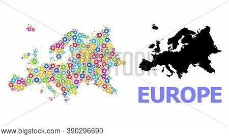 Vector Mosaic Map Of Europe Organized For Engineering. Mosaic Map Of Europe Is Done With Scattered M