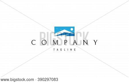 Vector Blue Logo On Which An Abstract Image Of The Peaks Of The Mountains.
