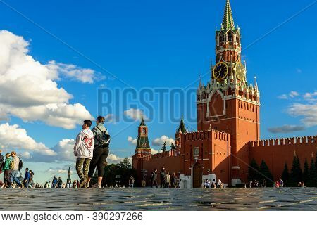 Moscow - July 23, 2020: People Walk On Red Square In Moscow, Russia. Nice View Of Old Famous Moscow