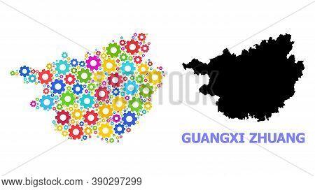 Vector Mosaic Map Of Guangxi Zhuang Region Combined For Engineering. Mosaic Map Of Guangxi Zhuang Re